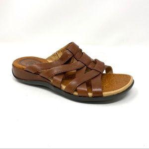Ariat Haven slide sandals burnished brown leather